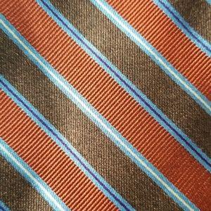 Brooks Brothers Lg Brown Rust ITA Striped Silk Tie